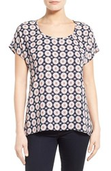 Women's Pleione Scoop Neck Short Sleeve Blouse Navy Peach Print