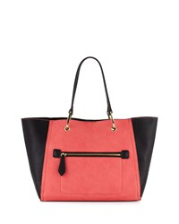 Neiman Marcus Oval Ring Small Tote Bag Coral Black