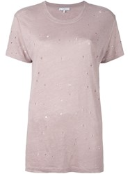 Iro Destroyed T Shirt Pink And Purple