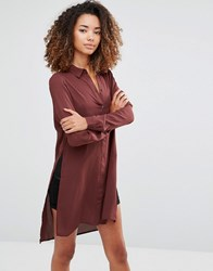 Vero Moda Shirt Dress With Slits And Closed Back Decandent Chocolate Brown