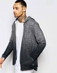 Asos Oversized Textured Hoodie With Dip Dye And Zips Grey