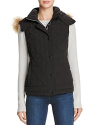 Marc New York Thea Faux Fur Trim Pyramid Vest Black