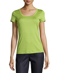 Lafayette 148 New York Short Sleeve Scoop Neck Tee Bamboo