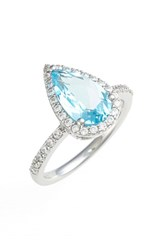 Women's Lafonn 'Aria' Pear Cut Ring Platinum Blue Topaz