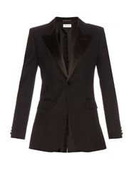 Saint Laurent Satin Lapel Single Breasted Wool Blazer Black