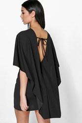 Boohoo Cape Open Back Detail Bodycon Dress Black