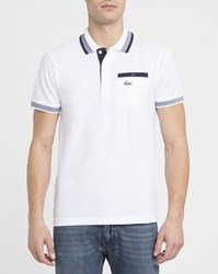 Lacoste White Piped Pockets Green Sport Crocodile Polo Shirt