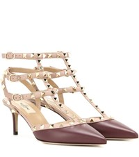Valentino Rockstud Leather Kitten Heel Pumps Purple