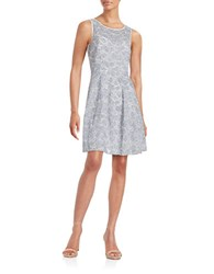 Tommy Hilfiger Lace Overlay Fit And Flare Dress Indigo Ivory