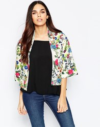 Mela Loves London Floral Jacket In Scuba White