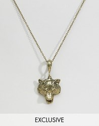 Reclaimed Vintage Wolf Head Pendant Necklace In Gold Gold