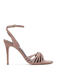 Reiss Billie Twisted Suede Ankle Strap Sandals Nude