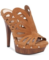 Jessica Simpson Fallwater Butterfly Cut Out Wood Platform Slides Women's Shoes Honey Brown