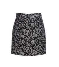 Michael Kors Metallic Jacquard Wool Blend Skirt Black