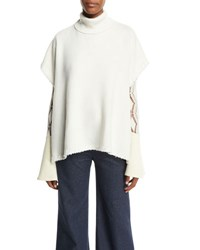 See By Chloe Butterfly Sleeve Frayed Wool Tie Jacket Natural White