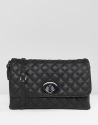 Marc B Yaz Quilted Twist Lock Cross Body Bag Black
