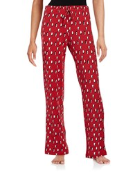 Lord And Taylor Jersey Knit Printed Pajama Pants Red