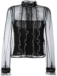 Red Valentino Tulle Blouse Black