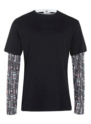 Topman Black Aztec Two In One T Shirt