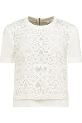 A.L.C. Marc Guipure Lace Paneled Silk Crepe Top White