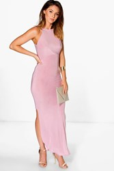 Boohoo Slinky High Neck Side Split Maxi Dress Mauve