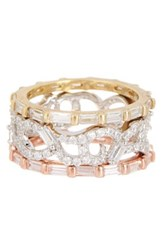 18K Yellow White And Rose Gold Plated Sterling Silver Cz Stack Ring Set Metallic