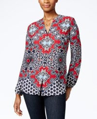 Charter Club Printed Button Front Shirt Only At Macy's Cardinal Red