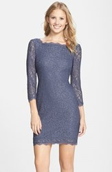Petite Women's Adrianna Papell Lace Overlay Sheath Dress Gunmetal