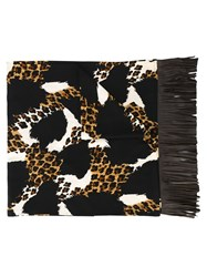 Yves Saint Laurent Vintage Animal Print Scarf Brown