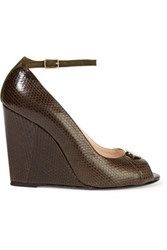 Jerome Dreyfuss Juliette Embellished Snake Effect Leather Wedge Pumps Chocolate