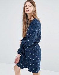 Vanessa Bruno Ath Athe Shirt Dress In Print With Drawstring Waist Navy