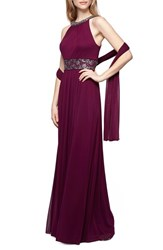 Alex Evenings Women's Embellished A Line Gown And Shawl