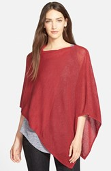 Women's Eileen Fisher Mesh Detail Wool Knit Poncho Red