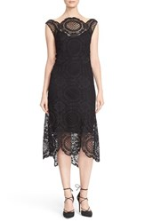 Tracy Reese Women's Crochet Lace Scalloped Hem Midi Dress Black