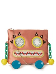 Charlotte Olympia Rusty Rosie Satin Cross Body Bag Pink Multi