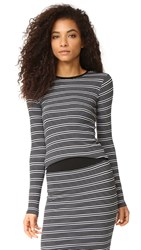 Atm Anthony Thomas Melillo Engineered Stripe Long Sleeve Crew Neck Top Black White Stripe