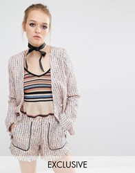 Sister Jane Mod Squad Tweed Blazer Jacket Co Ord Pink