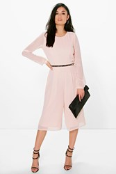 Boohoo Long Sleeve Culotte Jumpsuit Blush