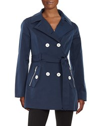 Jessica Simpson Double Breasted Trench Coat Navy Blue
