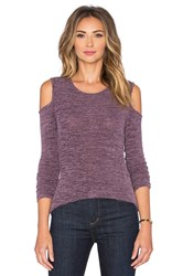 Bobi Heavy Bouncy Knit Open Shoulder Long Sleeve Tee Lavender