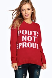 Boohoo Grace Pouts Not Sprouts Christmas Jumper Red
