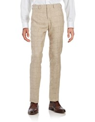 Black Brown Plaid Linen Pants Tan