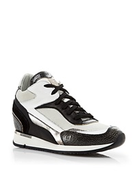 Mcm Lace Up Wedge Sneakers Crackled Leather