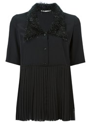 Marco De Vincenzo Embellished Collar Pleated Blouse Black