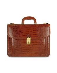 L.A.P.A. Men's Front Pocket Croco Stamped Italian Leather Briefcase Brown