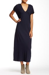 Go Couture Hooded Thermal Washed Sweater Dress Blue