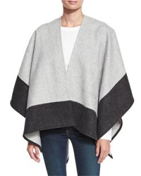 Rag And Bone Double Face Colorblock Merino Wool Wrap Gray Grey