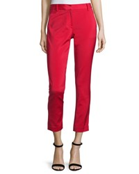 Tibi Stretch Faille Cropped Slim Fit Pants Cadmium Red