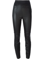Dolce And Gabbana Leather Leggings Black