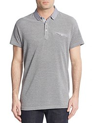Saks Fifth Avenue Trim Fit Plaid Trimmed Polo Shirt Grey